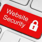 red-website-security-button-white-keyboard-background